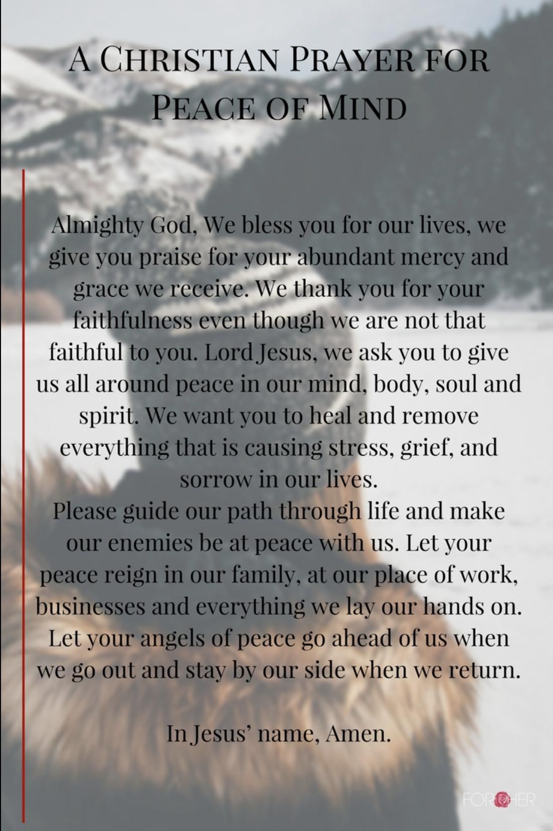 CHRISTIN PRAYER FOR PEACE OF MIND