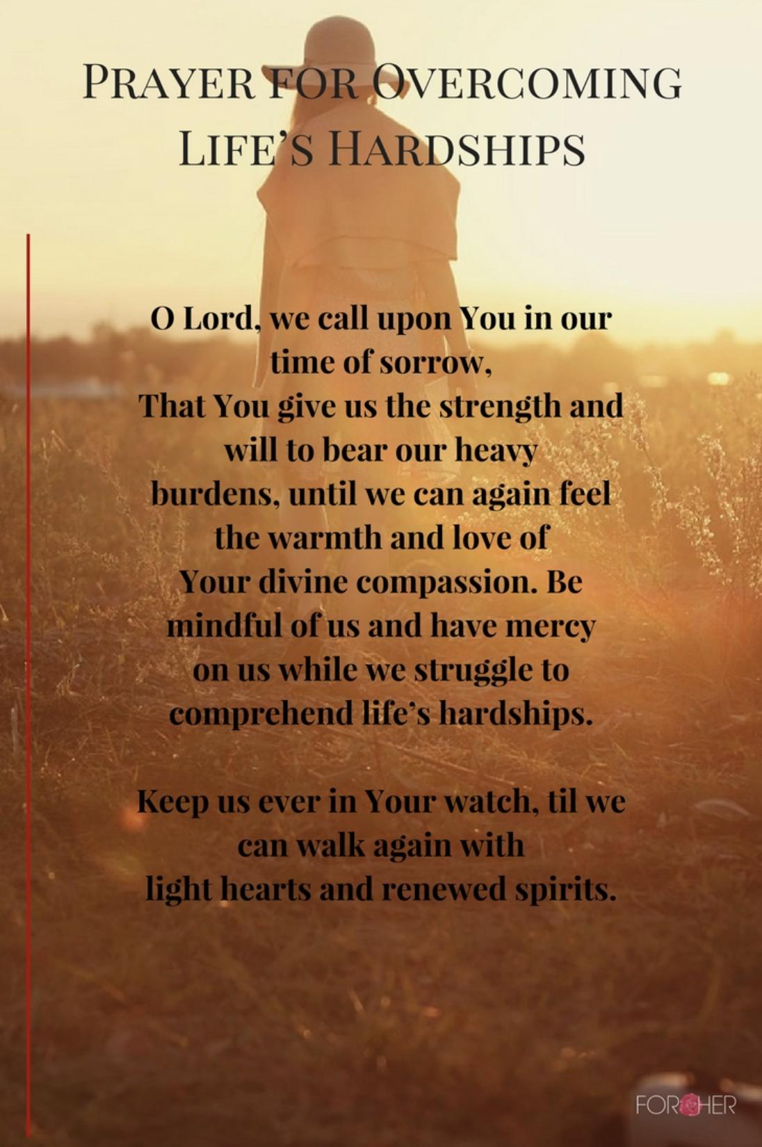PRAYER FOR OVERCOMING LIFE'S HARDSHIPS