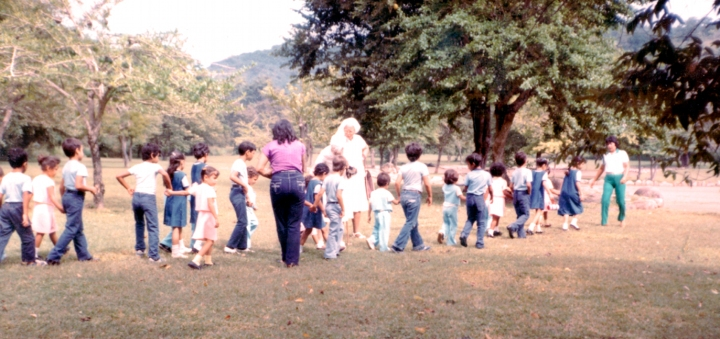 Children Walking in Line