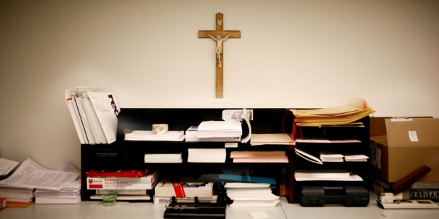 OFFICE,CUBICLE,CRUCIFIX