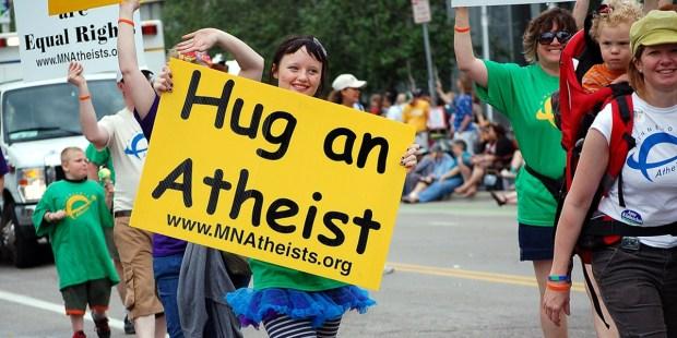 HUG AN ATHEIST,PROTEST