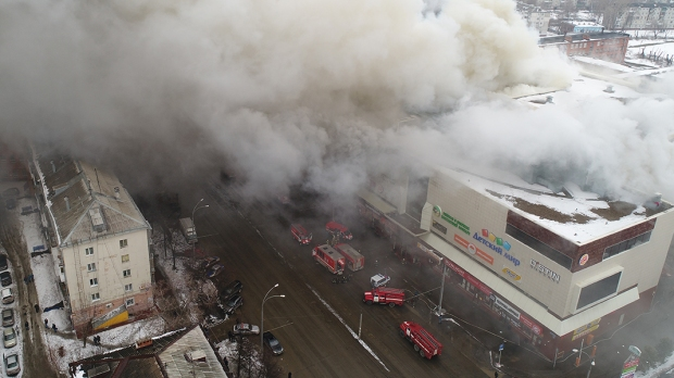 FIRE AT ZIMNYAYA VISHNYA SHOPPING MALL IN KEMEROVO