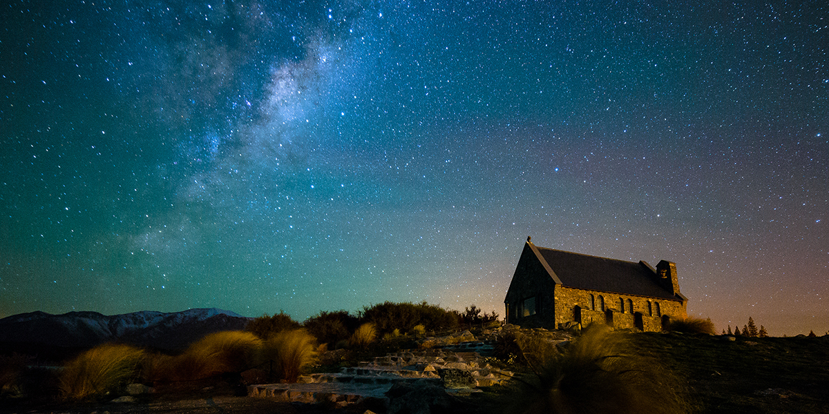 SOUTHERN LIGHTS,NEW ZEALAND,CHURCH