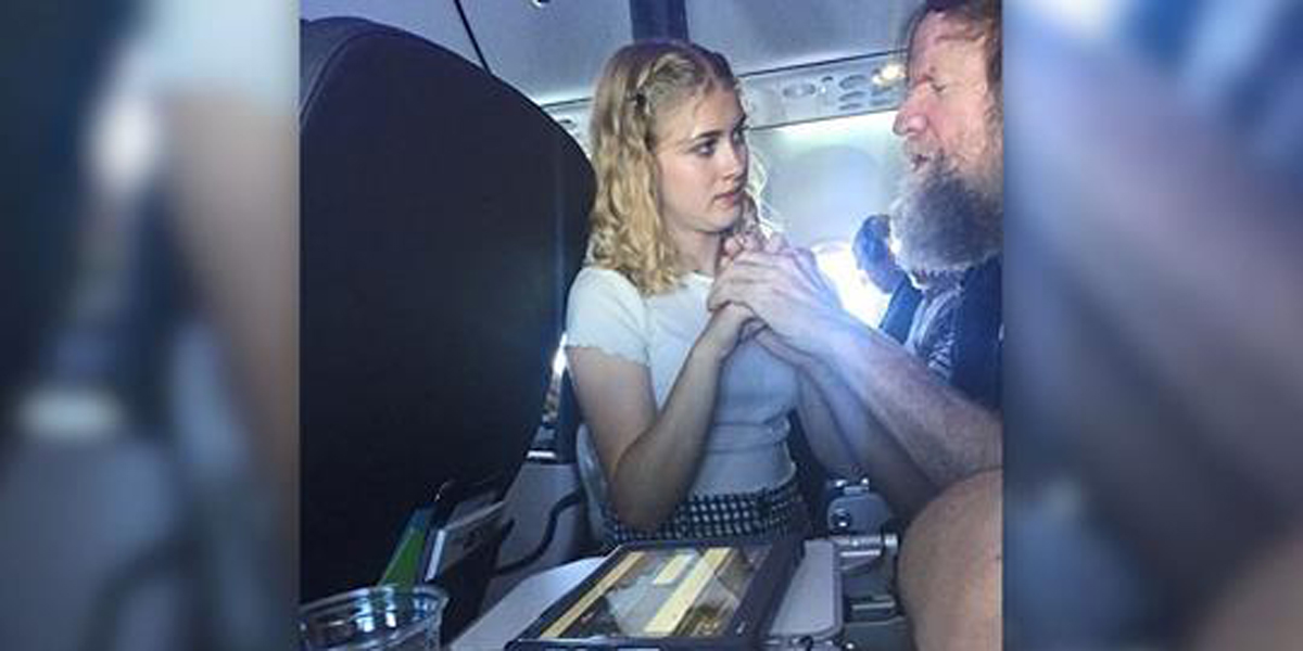 TEEN,HELPS,BLIND,DEAF,MAN,AIRPLANE