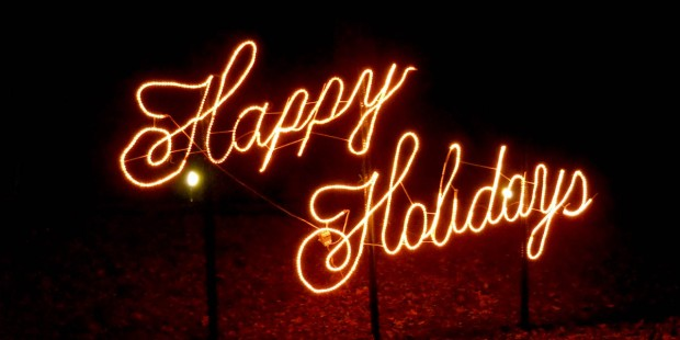 HAPPY HOLIDAYS SIGN,RED LIGHTS
