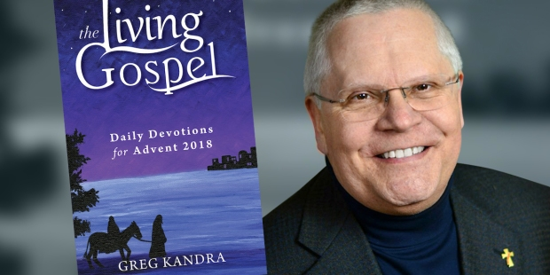The Living Gospel book and the portrait of Deacon Greg Kandra