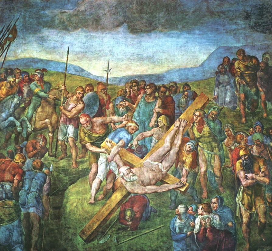 MICHELANGELO; CRUCIFIXION OF ST PETER; VATICAN