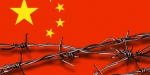 CHINA'S FLAG WITH BARBED WIRE