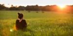 SUNSET, GIRL, GRASS