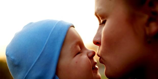 SON KISSES MOM,