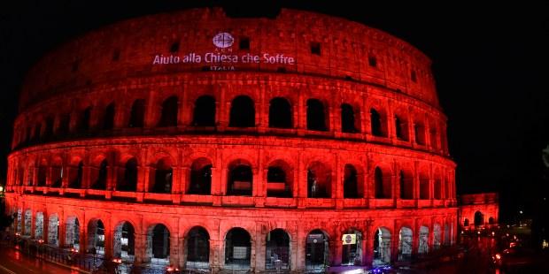 ACN Event - Illuminated Coliseum in Red