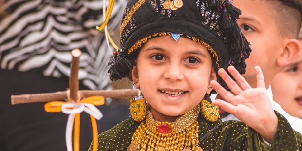 Iraqi children celebrating Palm Sunday