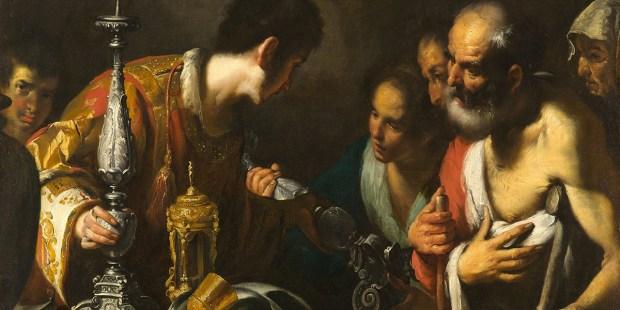 SAINT LAWRENCE DISTRIBUTING THE TREASURES OF THE CHURCH