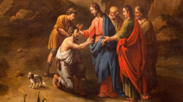 Jesus Healing blind man on the road to Jericho